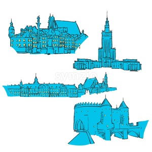 Warsaw, Poland, Colored Landmarks Stock Vector