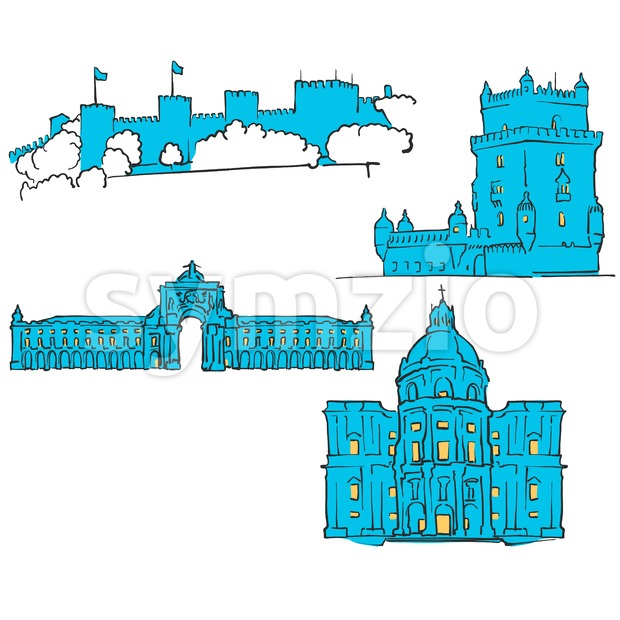 Lisbon, Portugal, Colored Landmarks Stock Vector