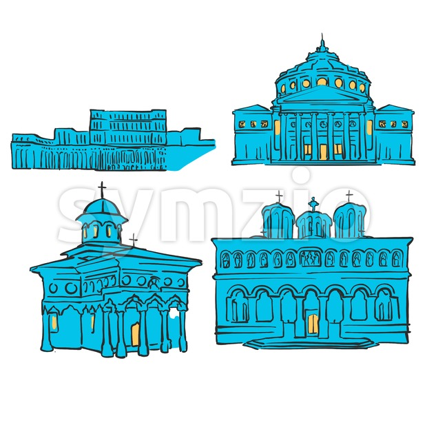 Bucharest, Romania, Colored Landmarks Stock Vector