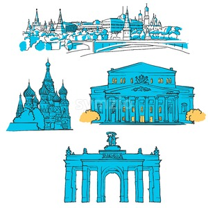 Moscow, Russia, Colored Landmarks Stock Vector