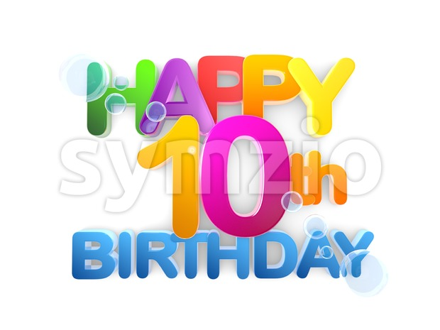 Happy 10th Birthday Title, light Stock Photo