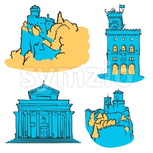 San Marino Colored Landmarks Stock Vector