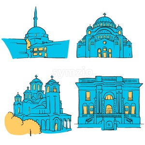 Belgrade, Serbia, Colored Landmarks Stock Vector