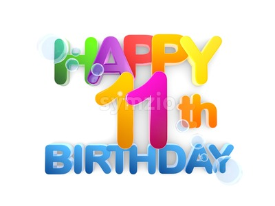Happy 11th Birthday Title, light Stock Photo