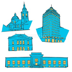 Ljubljana Colored Landmarks Stock Vector