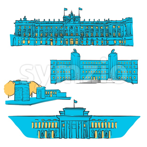 Madrid, Spain, Colored Landmarks Stock Vector