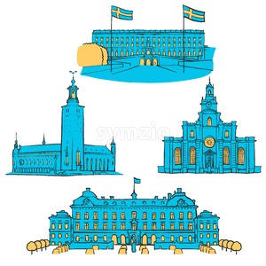 Stockholm Colored Landmarks Stock Vector
