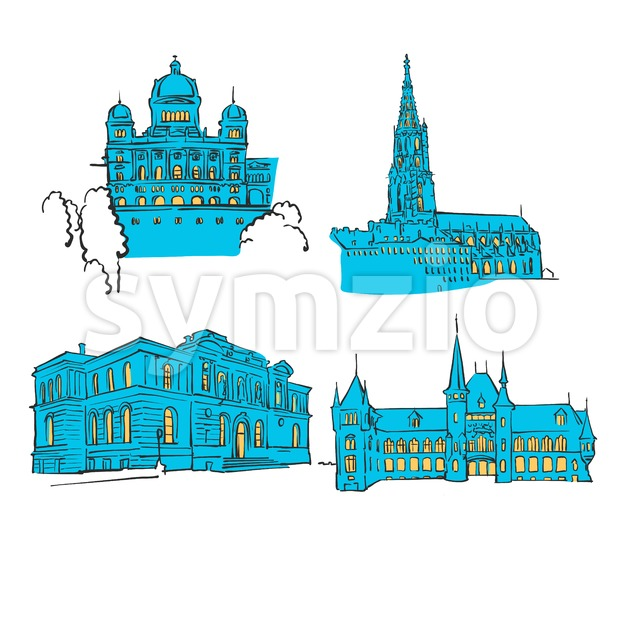 Bern Colored Landmarks Stock Vector