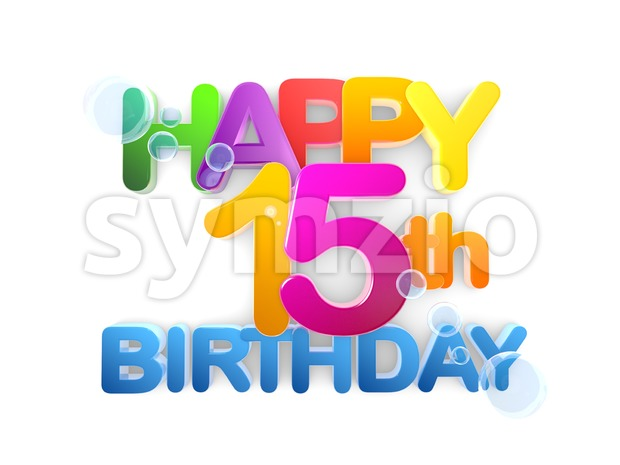 Happy 15th Birthday Title, light Stock Photo