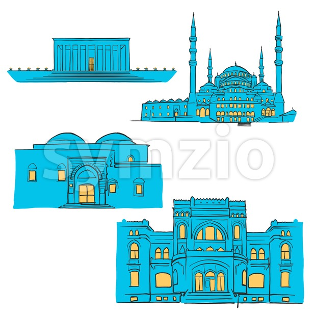 Ankara, Turkey, Colored Landmarks Stock Vector