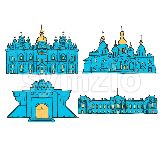 Kyiv, Ukraine, Colored Landmarks Stock Vector