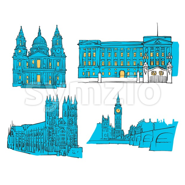 London Colored Landmarks Stock Vector