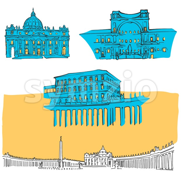 Vatican Colored Landmarks Stock Vector