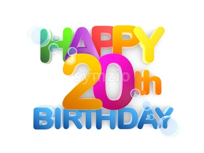 Happy 20th Birthday Title, light Stock Photo
