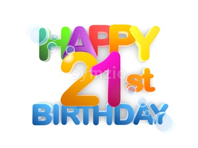 Happy 21st birthday Title, light Stock Photo