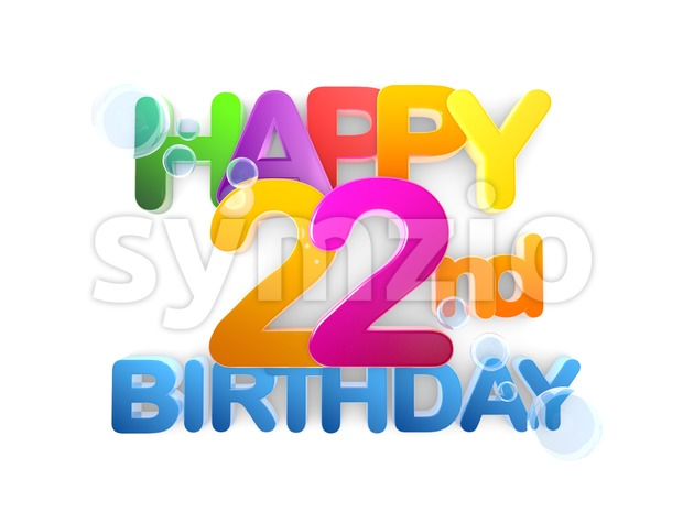Happy 22nd Birthday Title, light Stock Photo
