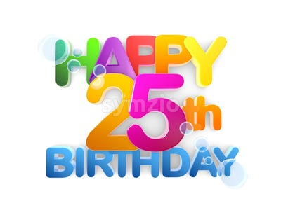 Happy 25th Birthday Title, light Stock Photo
