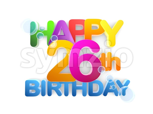 Happy 26th Birthday Title, light Stock Photo