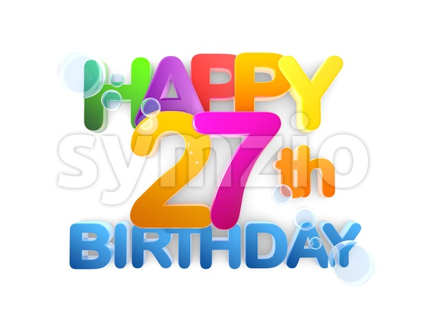 Happy 27th Birthday Title, light Stock Photo