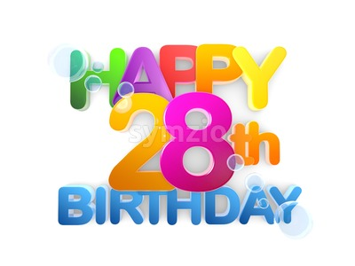 Happy 28th Birthday Title, light Stock Photo