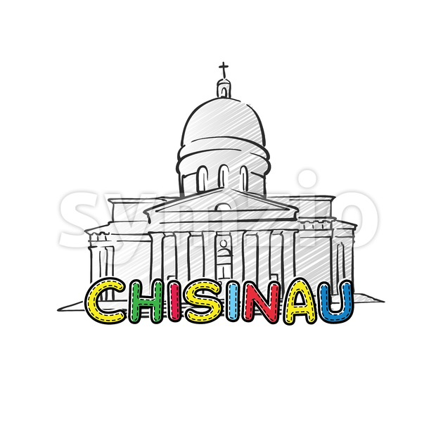 Chisinau beautiful sketched icon Stock Vector