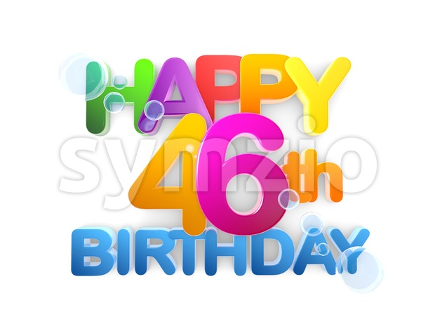 Happy 46th Birthday Title in Big Letters, light Stock Photo