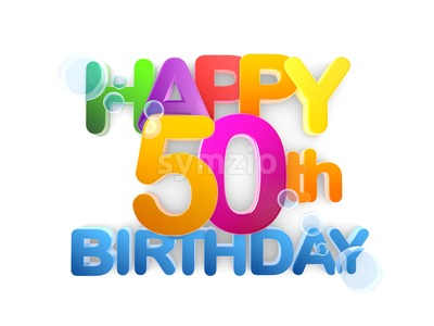 Happy 50th Title, Birthday light Stock Photo