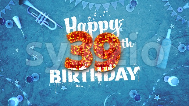 Happy 39th Birthday Card with beautiful details Stock Photo