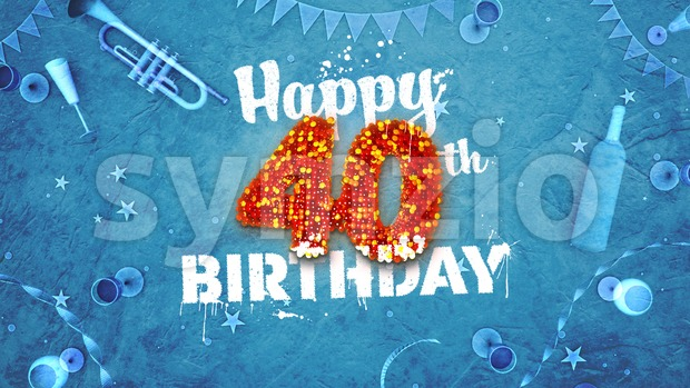 Happy 40th Birthday Card with beautiful details Stock Photo