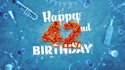 Happy 42nd Birthday Card with beautiful details Stock Photo
