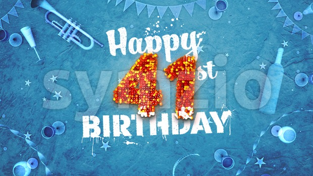 Happy 41st Birthday Card with beautiful details Stock Photo