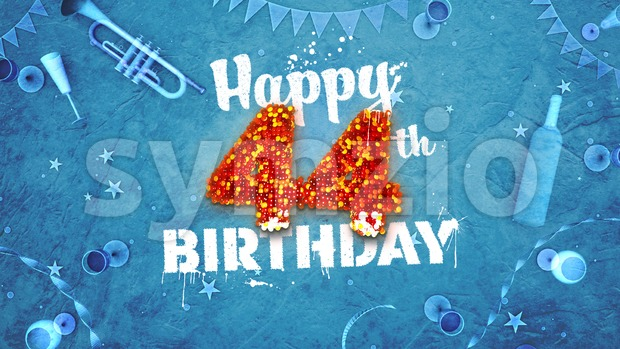 Happy 44th Birthday Card with beautiful details Stock Photo