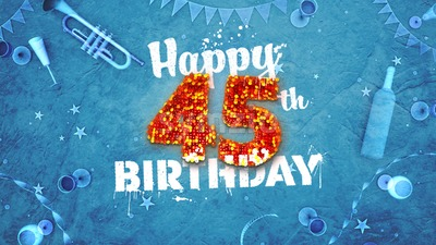 Happy 45th Birthday Card with beautiful details Stock Photo