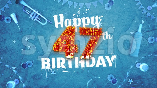 Happy 47th Birthday Card with beautiful details Stock Photo