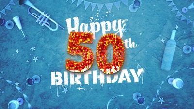 Happy 50th Birthday Card with beautiful details Stock Photo