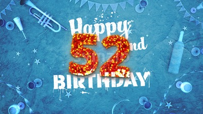 Happy 52nd Birthday Card with beautiful details Stock Photo