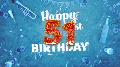 Happy 51st Birthday Card with beautiful details Stock Photo