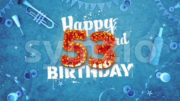 Happy 53rd Birthday Card with beautiful details Stock Photo
