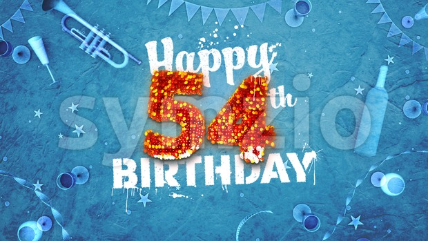 Happy 54th Birthday Card with beautiful details Stock Photo