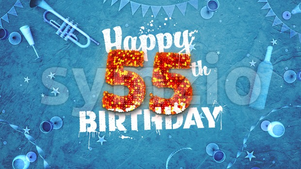 Happy 55th Birthday Card with beautiful details Stock Photo