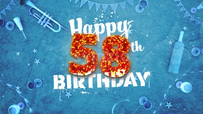 Happy 58th Birthday Card with beautiful details Stock Photo