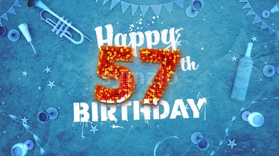Happy 57th Birthday Card with beautiful details Stock Photo