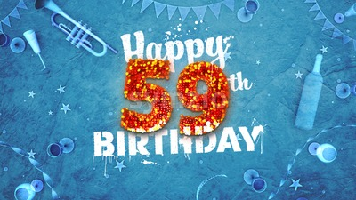 Happy 59th Birthday Card with beautiful details Stock Photo