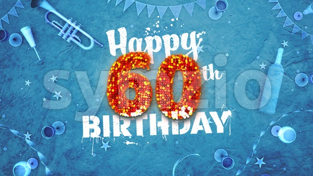 Happy 60th Birthday Card with beautiful details Stock Photo