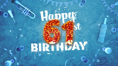 Happy 61st Birthday Card with beautiful details Stock Photo