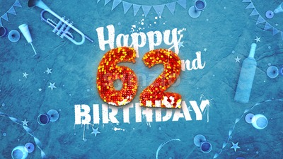 Happy 62nd Birthday Card with beautiful details Stock Photo