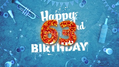 Happy 63rd Birthday Card with beautiful details Stock Photo