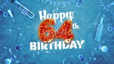 Happy 64th Birthday Card with beautiful details Stock Photo
