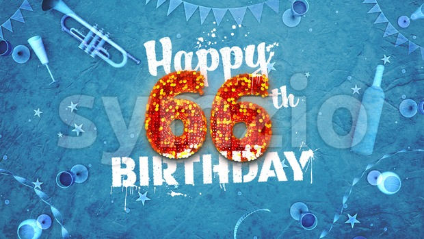 Happy 66th Birthday Card with beautiful details Stock Photo