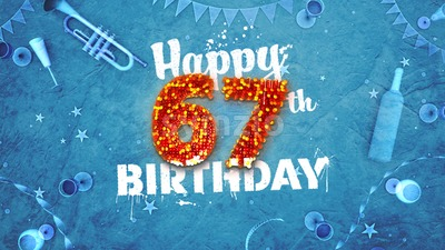 Happy 67th Birthday Card with beautiful details Stock Photo